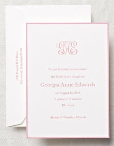 Baby announcement 1 - Crane Letterpress Monogram Birth Announcement with Border