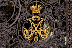 Tsar Alexander III and  Maria Feodorovna royal  monogram on Main Gate at Hermitage
