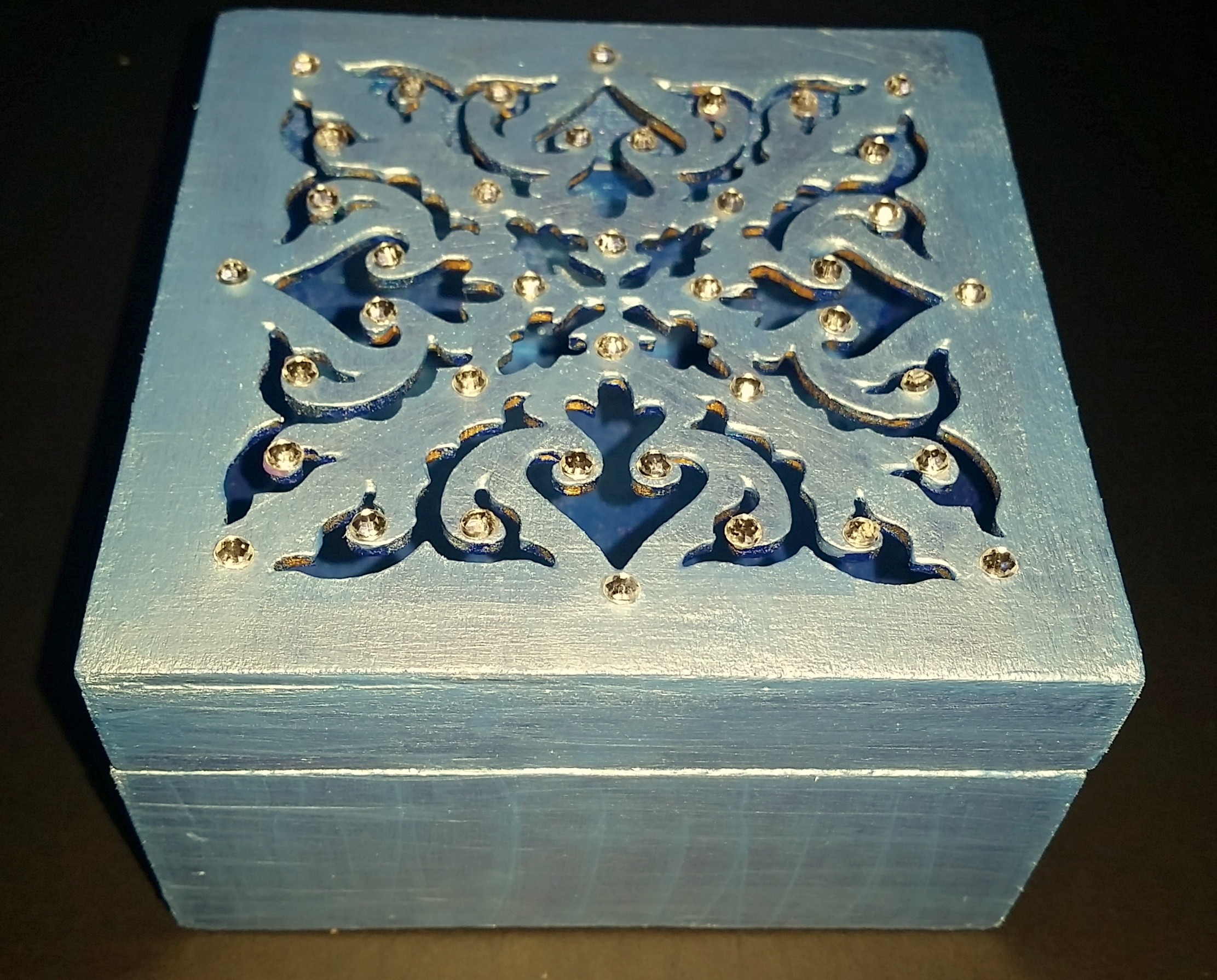 Wooden craft boxes to decorate - Laser Cut Square Box Version 2 Decorated Wooden
