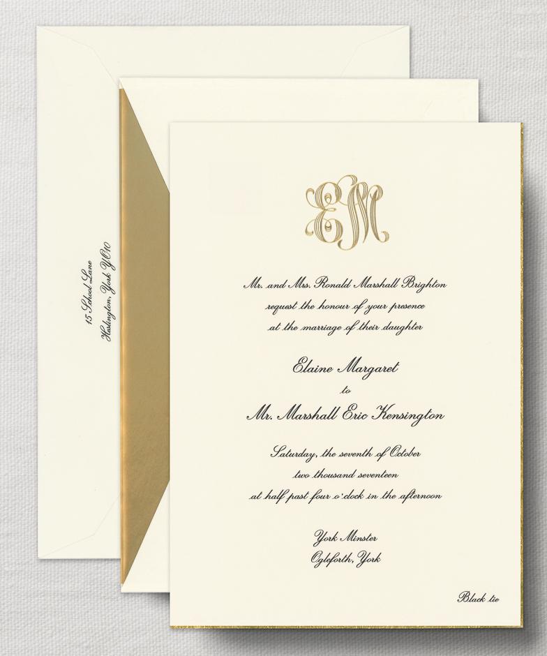 c5bef7fba7 wedding invitation monogram 1 - Crane Engraved Royalty Alexandria  Invitation with Gold Bevel