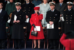 Britannia Royal Yacht - decommision ceremony - the Queen shedding a tear